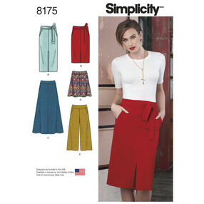 Pattern 8175 Misses' Slim and Flared Skirts, Cropped Pants, and Tie Belt