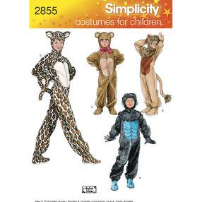 Simplicity Pattern 2855 Child, Boy & Girl Animal Costumes
