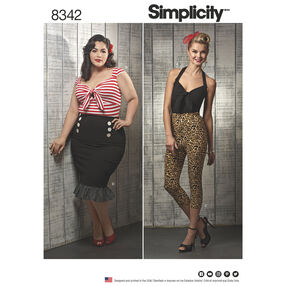 Simplicity Pattern 8342 Misses' & Women's Knit Tops, Cropped Pants, & Skirts