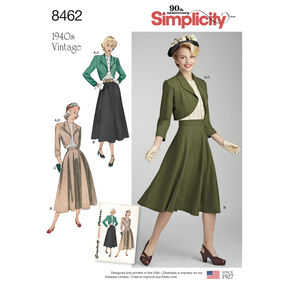 Simplicity Pattern 8462 Misses' Vintage Blouse, Skirt and Lined Bolero