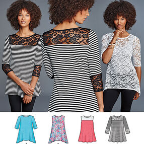 Misses' Knit Tops with Lace Variations