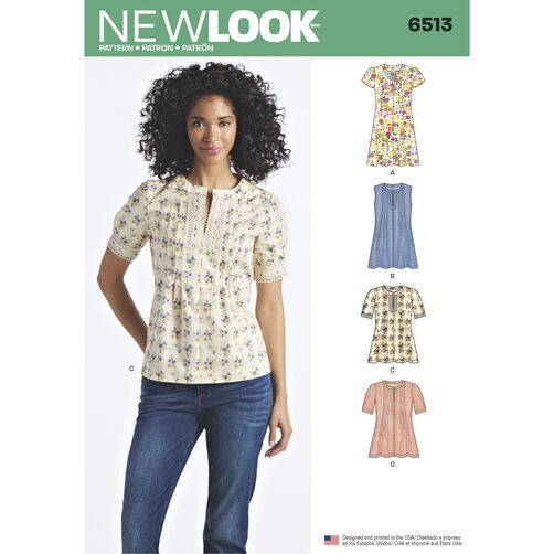 New Look Pattern 6513 Misses' Dress or Top with Sleeve and Trim Variations