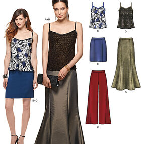 Misses' Pants, Skirt in Two Lengths and Camisole