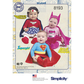 Pattern 8193 Babies' Super Hero Costumes