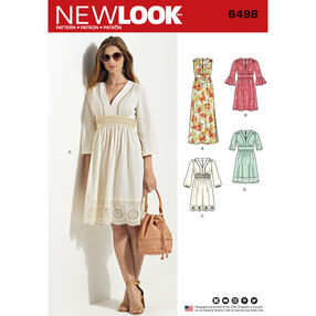 New Look Pattern 6498 Misses' Dresses in Two Lengths with Bodice Variations