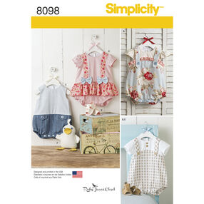 Pattern 8098 Babies' Rompers, Sandals, and Stuffed Duck