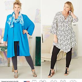 Pattern 8097 Plus Size Tunic, Top, Kimono and Knit Leggings