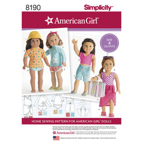 "Pattern 8190 American Girl Doll Clothes for 18"" Doll"