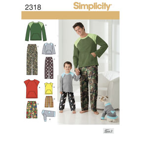 Simplicity Pattern 2318 Boys' & Men's Loungewear & Dog Top
