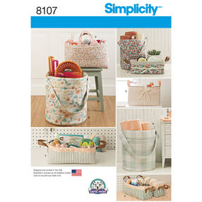 Simplicity Pattern 8107 Bucket, Basket and Tote Organizers