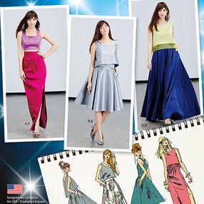 Misses' Full Skirts, Slim Skirt and Tops