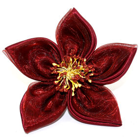 Pointed Red Fabric Pin & Clip Flower_56-63008