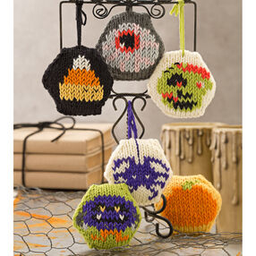 Knit Hexagonal Halloween Ornaments