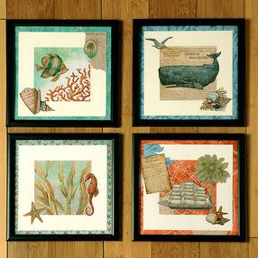 Framed Sea Life Quartet