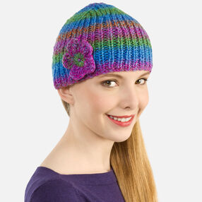 Ribbed Knit Cap and Flower