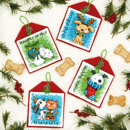 Cross Stitch Holiday Furry Friends