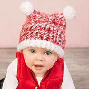 Loom Knit Baby Hat with Pompoms