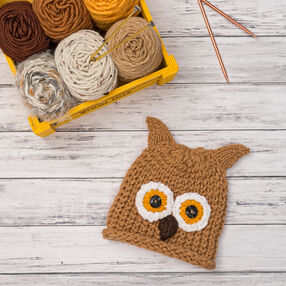 Knit Baby Owlet Hat
