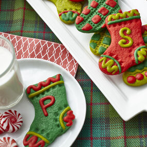 Festive Piped Dough Stocking Cookies