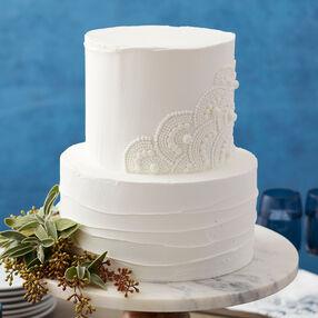 Scalloped White Wedding Cake