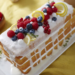 Summer Fruit Loaf Cake using Easy Layers Loaf Pan with fresh fruit on top